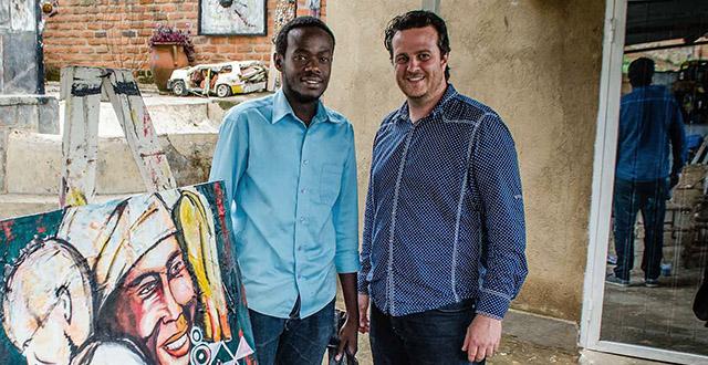 Scott from Vayando with Ivuka artist Bonfils