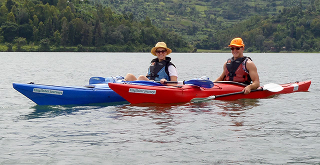 Kayaking on Lake Kivu with Kingfisher Journeys